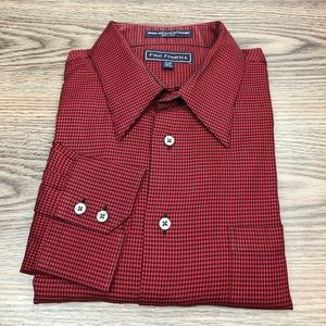 Paul Fredrick Red & Black Houndstooth Shirt 17-34